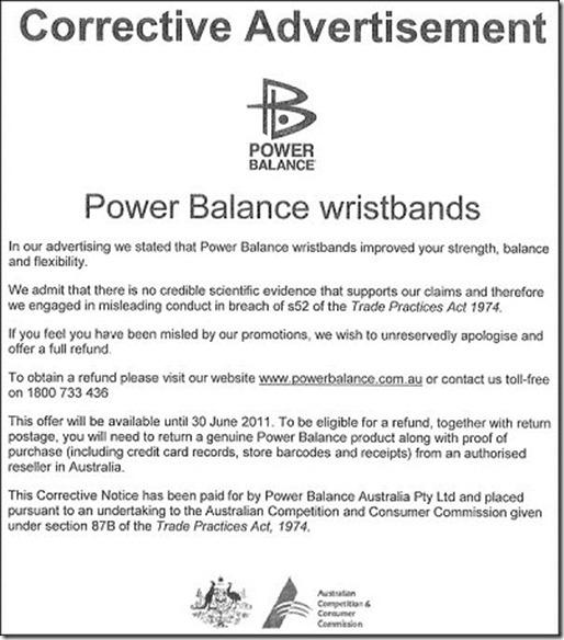 Admissão de Fraude da Power Balance Genérica
