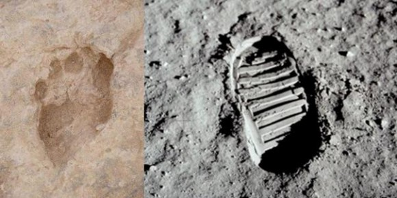 Pegadas do australopitecos e astronauta