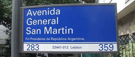 Prefeitura do rio comete patacoada elegendo San Martin como Presidente da Argentina.