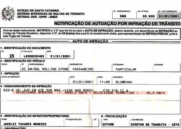 Catarinense é multado por dirigir a 4.800 km por hora