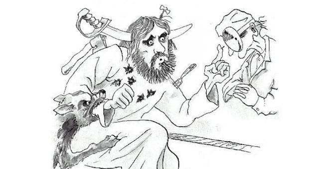 Caricatura de Rasputin no médico