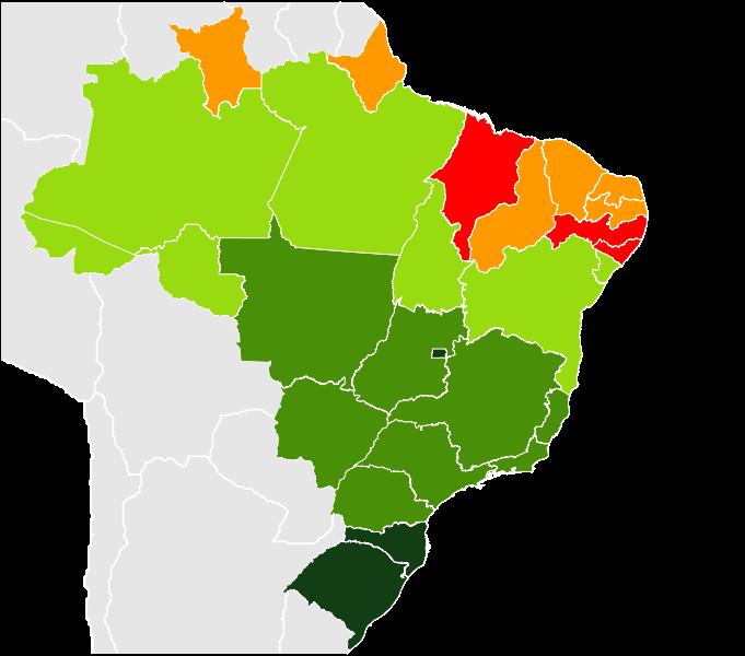 Mapa da expectativa de vida por estado brasileiro