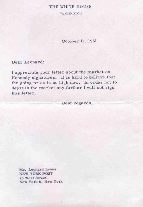 JFK e o paradoxo do autógrafo sem assinatura