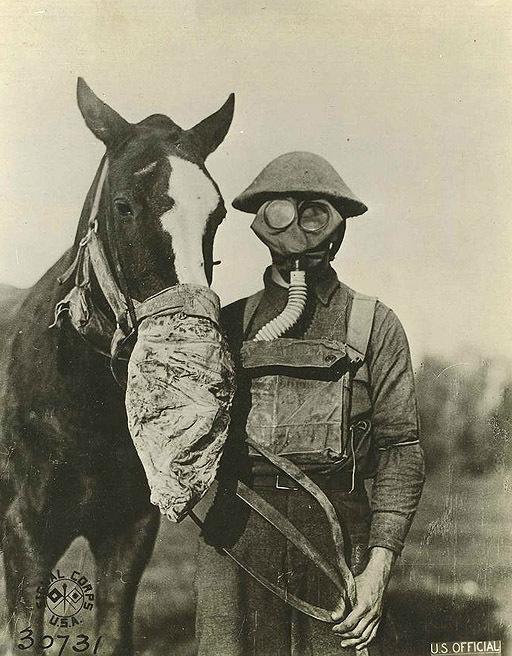 As pessoas, a guerra química, o gás, as pragas e as máscaras