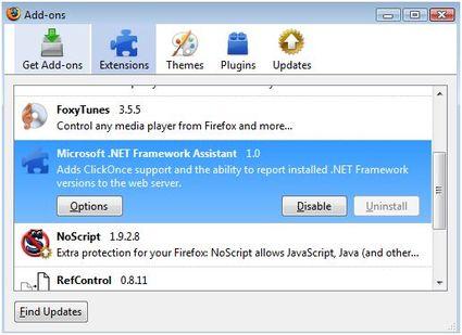 Microsoft instala uma extensão no Firefox sem o conhecimento do usuário