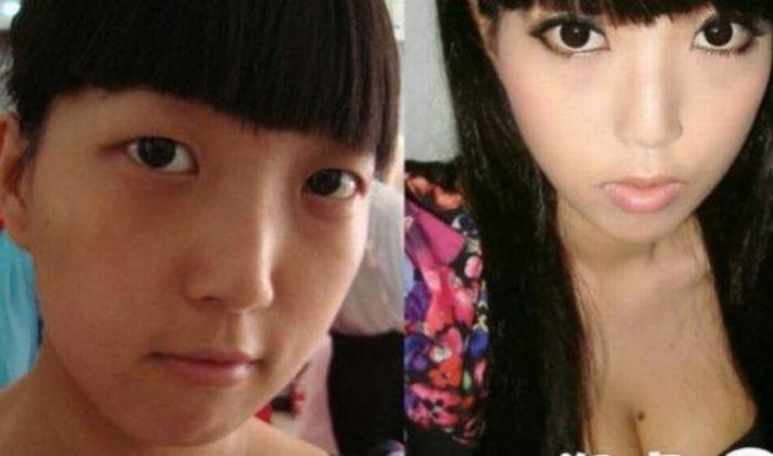 Antes e depois da maquiagem de garotas orientais 02