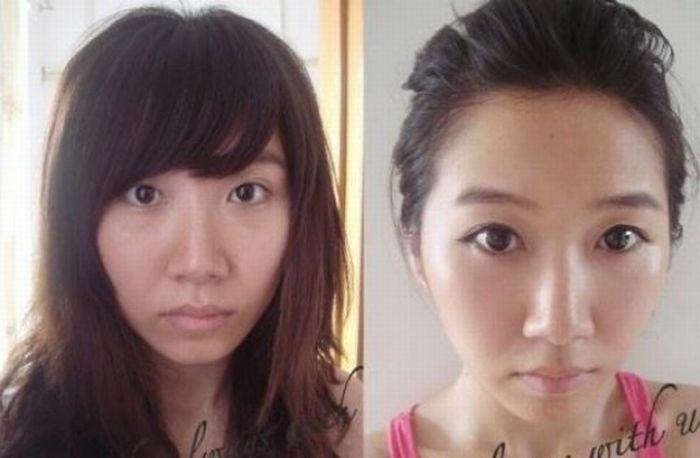 Antes e depois da maquiagem de garotas orientais 03