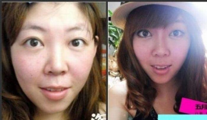 Antes e depois da maquiagem de garotas orientais 05