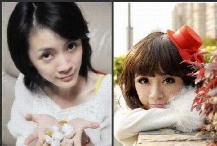 Antes e depois da maquiagem de garotas orientais 06
