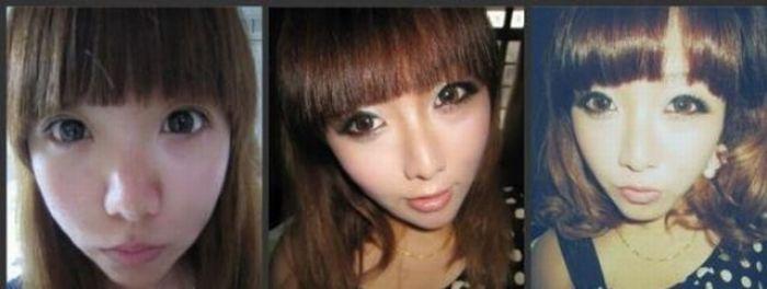 Antes e depois da maquiagem de garotas orientais 08