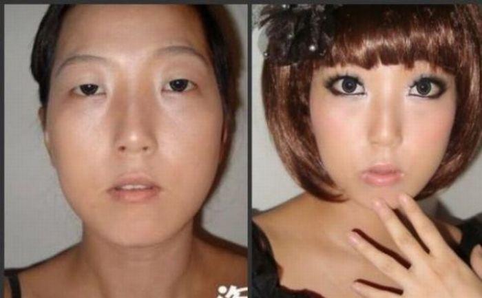 Antes e depois da maquiagem de garotas orientais 10