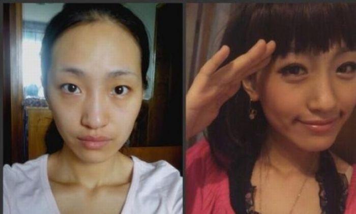 Antes e depois da maquiagem de garotas orientais 14