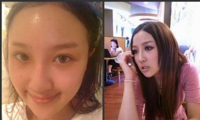 Antes e depois da maquiagem de garotas orientais 15