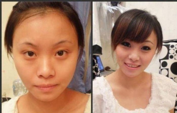 Antes e depois da maquiagem de garotas orientais 16