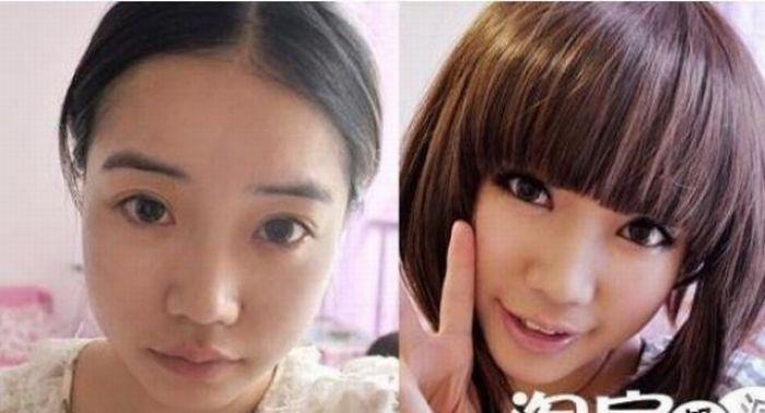 Antes e depois da maquiagem de garotas orientais 19