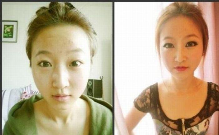Antes e depois da maquiagem de garotas orientais 23