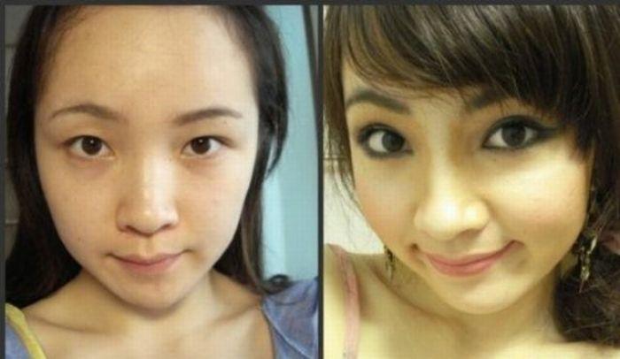 Antes e depois da maquiagem de garotas orientais 26