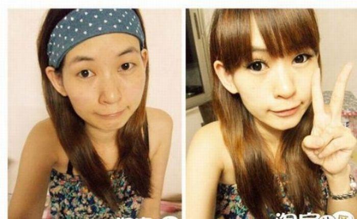Antes e depois da maquiagem de garotas orientais 29