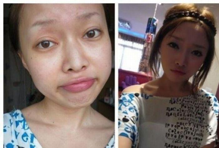 Antes e depois da maquiagem de garotas orientais 30