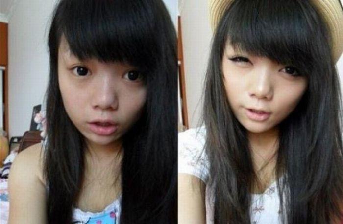 Antes e depois da maquiagem de garotas orientais 33