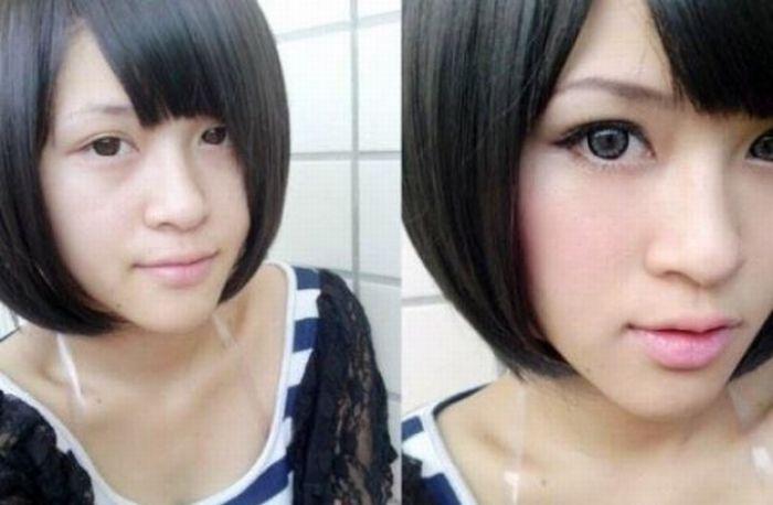 Antes e depois da maquiagem de garotas orientais 34