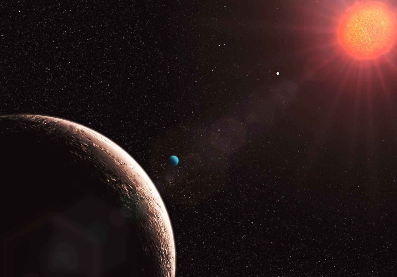 Visão artística de Gliese 581 e, o exoplaneta de menor massa já descoberto.